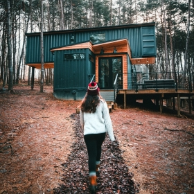 Shipping container cabin in Hocking Hills