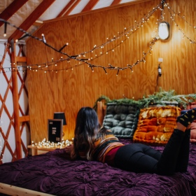 Michigan Yurt Rental Moody Cabin Girl